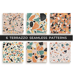 six seamless terrazzo patterns hand crafted and vector image