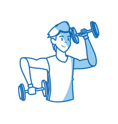 Sport man dumbbell fitness gym workout vector