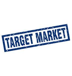 Square grunge blue target market stamp vector