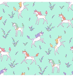 Unicorns pattern meadow vector