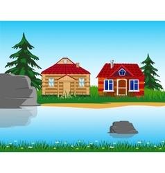 Village ashore lake vector