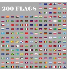 200 flags set of the world vector