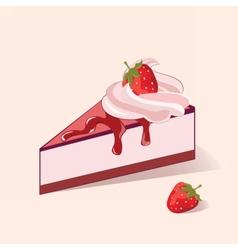 Cake slice with strawberry cream vector image