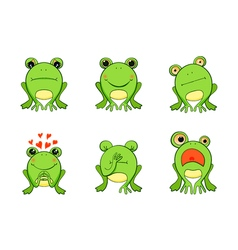 Frog mascot emoticons smiley face vector