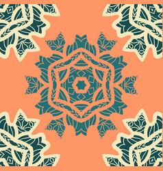 green and orange color mandala ornamentdecorative vector image