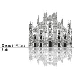 Milan cathedral in italy with shadow vector