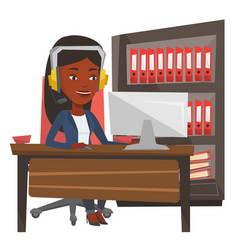 Operator of call center wearing headset vector