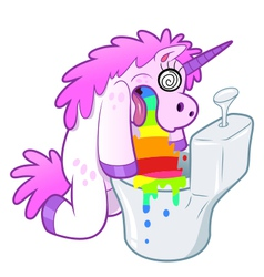 Unicorn pukes rainbow in the toilet vector image