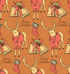 Sketch fancy reindeer in vintage style with bell vector