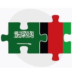 Saudi Arabia and Afghanistan Flags vector image
