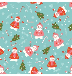 Christmas seamless pattern with snowmen vector