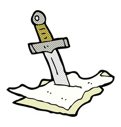 Comic cartoon dagger in maps vector