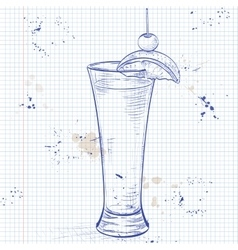 Tequila sunrise realistic cocktail on a notebook vector