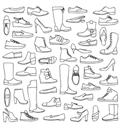 Man and woman doodle shoes vector image