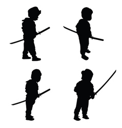 Child with samurai sword vector