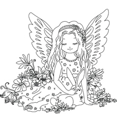 Cute angel with bunny coloring book vector