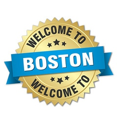 Boston 3d gold badge with blue ribbon vector