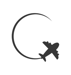Airplane circle silhouette travel icon vector