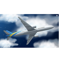 Airplane flying at night time vector