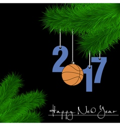 Basketball balls on christmas tree branch vector