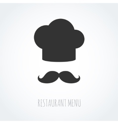 Chef hat and mustache abstract icon vector