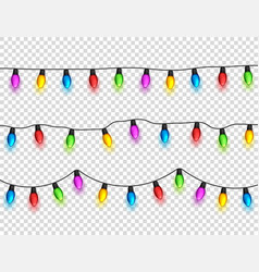 christmas glowing lights on transparent background vector image vector image