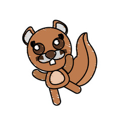 Drawing beaver animal character vector