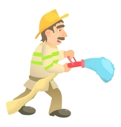 Extinguishing firefighter icon cartoon style vector