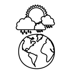 figure earth planet with cloud rainning and sun vector image