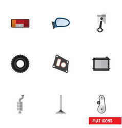 Flat icon component set of silencer cambelt vector