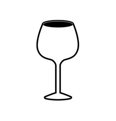 Glass of champagne sour black silhouette vector