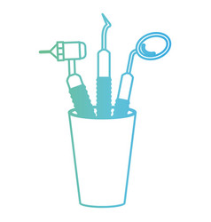 glass with dental cleaning tools and dental mirror vector image