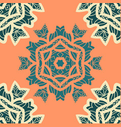 green and orange color mandala ornamentdecorative vector image