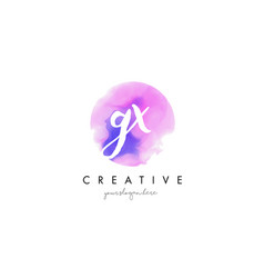 Gx watercolor letter logo design with purple vector