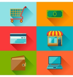 Internet shopping icons in flat design style vector