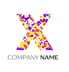 Letter x logo with purple yellow red particles vector