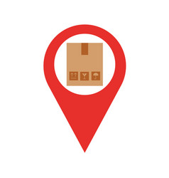 pin location with box carton delivery icon vector image