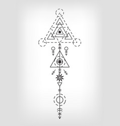 sacred geometry aztec tattoo sign vector image vector image