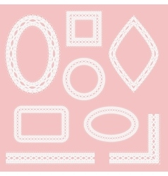Set of lacy frames ribbons and corners vector