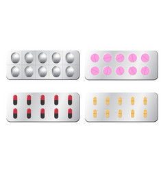set of pill isolated on white vector image