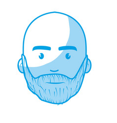 Silhouette nice face man with beard and bald vector