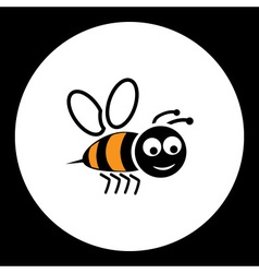 Simple black smiling happy bee icon eps10 vector