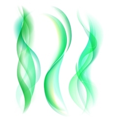 Smooth green smoke isolated on white background vector