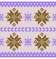 Violet and brown nordic knitted seamless pattern vector