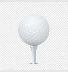 White realistic golf ball template on tee - vector