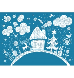Winter card with house vector image