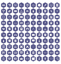 100 plan icons hexagon purple vector