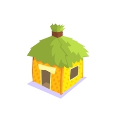 Hut with green leaves on the roof jungle village vector