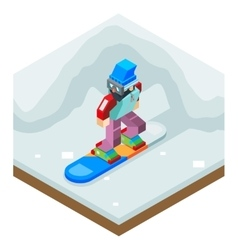 Snowboard winter activity vacation journey flat vector