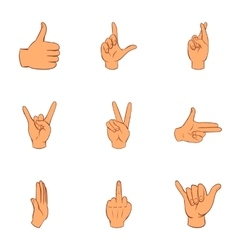 Gesture icons set cartoon style vector